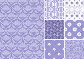 Collection of seamless patterns in lavender color.All design are seamless and