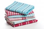 Kitchen towels on white background