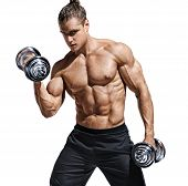 Sporttive Man Doing Exercises With Dumbbells At Biceps. Photo Of Young Man With Naked Torso And Good poster