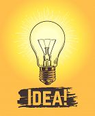 Sketch Light Bulb. New Business And Creative Idea Vector Concept With Hand Drawn Lamp. Illustration  poster