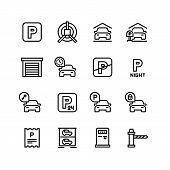 Parking Icons. Car Garage And Parking Line Vector Symbols. Automobile Service Park, Zone Place Parki poster