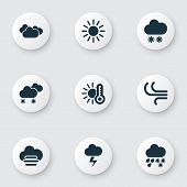 Climate Icons Set With Hail, Sunny, Temperature And Other Synoptic Elements. Isolated  Illustration  poster