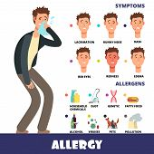 Cartoon Stye Vector Allergy Infographics With Allergens And Allergy Symptoms. Symptom Allergic Red E poster