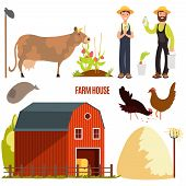Farming. Farm Cartoon Character Vector Elements. Farm Animal And Agriculture, Barn And Chicken, Cow  poster