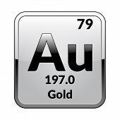 Gold Symbol.chemical Element Of The Periodic Table On A Glossy White Background In A Silver Frame.ve poster