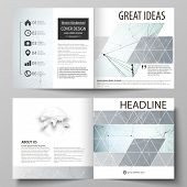Business Templates For Square Design Bi Fold Brochure, Flyer, Report. Leaflet Cover, Vector Layout.  poster