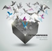 Metamorfose, Origami abstract vectorillustratie.