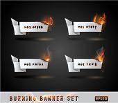 Burning paper Origami banner Set. Vector Illustration.