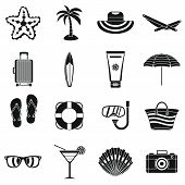 Summer Rest Icons Set. Simple Illustration Of 16 Summer Rest Icons For Web poster