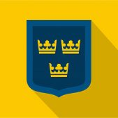 Coat Of Arms Of Sweden Icon. Flat Illustration Of Coat Of Arms Of Sweden Icon For Web poster