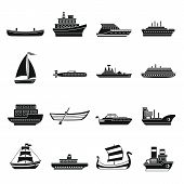 Sea Transport Icons Set. Simple Illustration Of 16 Sea Transport Icons For Web poster
