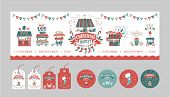 A Set Of Posters Or Postcards Christmas Market, Happy New Year And Christmas With Festive Decor, Gar poster
