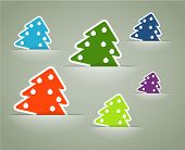 Christmas colorful tree stickers in pockets