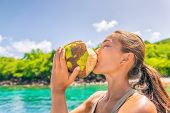 Coconut water Caribbean tropical food tourist woman drinking fresh natural from the coco on cruise s poster