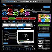 Creative black web design elements set. Vector illustration