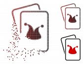 Joker Gaming Cards Icon In Dissolved, Dotted Halftone And Undamaged Whole Versions. Particles Are Ar poster