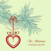 Retro Christmas card, love message