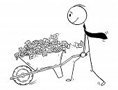 Cartoon Stick Drawing Conceptual Illustration Of Man Or Businessman Or Politician Pushing Wheelbarro poster