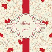 Thank you card; hearts seamless wallpaper