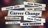 Career Change New Job Advancement Headlines 3d Illustration poster