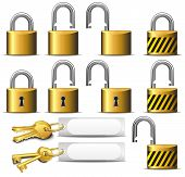 Padlock And Key - A Set Of Padlocks And Keys In Brass