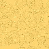 Padrão sem emenda de folhas de Outono no fundo bege