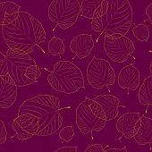 Padrão sem emenda do Outono folhas sobre o fundo de bordeaux