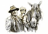 grandfather and grandson with horse