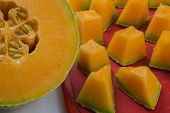 Cantaloupe Pieces On A Cutting Board Close-up