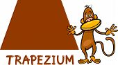 picture of trapezoid  - Cartoon Illustration of Trapezium or Trapezoid Basic Geometric Shape with Funny Monkey Character for Children Education - JPG