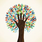 image of diversity  - Isolated diversity tree hands illustration - JPG
