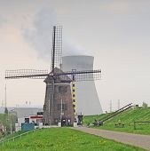 Antwerp, cooling towers and windmill