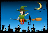 Halloween Theme Illustration For Children With A Cute witch girl