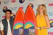 LOS ANGELES - JUL 22:  Michael Trevino, Candice Accola in the Press Room of the 2012 Teen Choice Awa