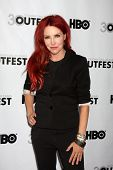 LOS ANGELES - JUL 22:  Gretchen Bonaduci (Re-inventing Bonaduce) arrives agt the 2012 Outfest Closin