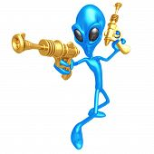 Alien Invader With Retro Rayguns