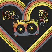 Love Disco, Love Retro. Vintage poster design template, vector, EPS8