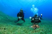 Underwater Photographer aims camera at lionfish while her buddy looks on