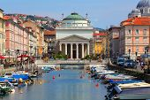 Trieste neo-classical Church of St. Antonio Thaumaturgo over The Grand Canal. Italy.