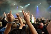 stock photo of rock star  - Cheering crowd at concert musicians on the stage
