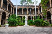 image of christopher columbus  - Courtyard of a spanish colonial palace in Havana with a statue of Christopher Columbus - JPG