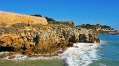 back side view of Forti de la Reina and the coast of Tarragona, Spain