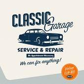 Vintage-Clip Kunst klassische Garage Zeichen Vektor eps10.