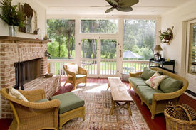 picture of screen-porch  - screen porch with fireplace and wicker furniture - JPG