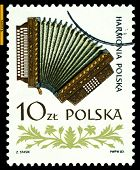 Vintage Postage Stamp.   Accordion.