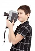 Young Boy With Old Vintage Analog 8Mm Camera