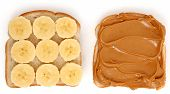 Open Peanut Butter And Banana Sandwich