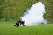 LONDON - UK, MAY 08: The King's Troop in Green Park are firing gun salutes for the State Opening of