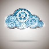 stock photo of gear wheels  - Cloud computing abstract illustration with gear wheels - JPG