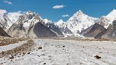 stock photo of karakoram  - K2 and Baltoro Glacier in the Karakorum in Pakistan - JPG
